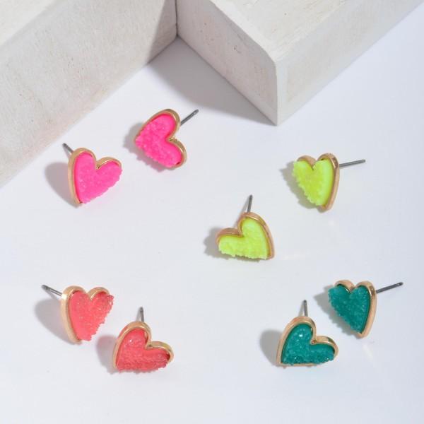 """Druzy Heart Stud Earrings in Gold.  - Approximately .5"""" in Size"""