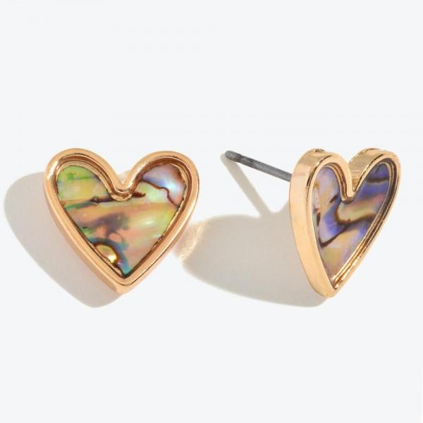 Wholesale abalone Heart Stud Earrings Gold
