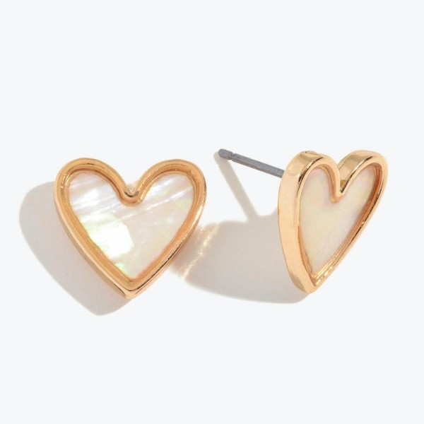 "Mother of Pearl Heart Stud Earrings in Gold.  - Approximately .5"" in Size"