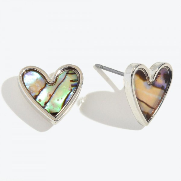 Wholesale abalone Heart Stud Earrings Rhodium
