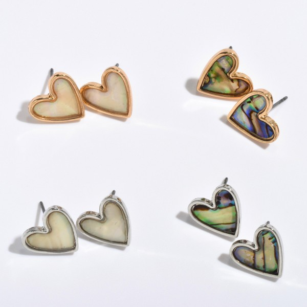 "Abalone Heart Stud Earrings in Rhodium.  - Approximately .5"" in Size"