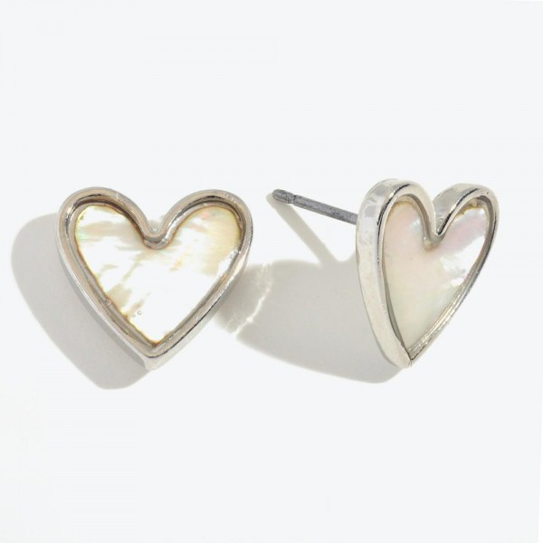 "Mother of Pearl Heart Stud Earrings in Rhodium.  - Approximately .5"" in Size"