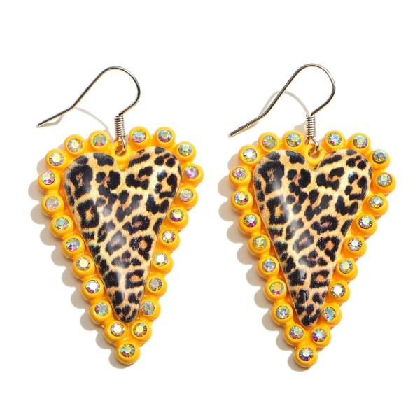 """Metal Rhinestone Leopard Print Heart Statement Drop Earrings.  - Approximately 2.25"""" in Length"""
