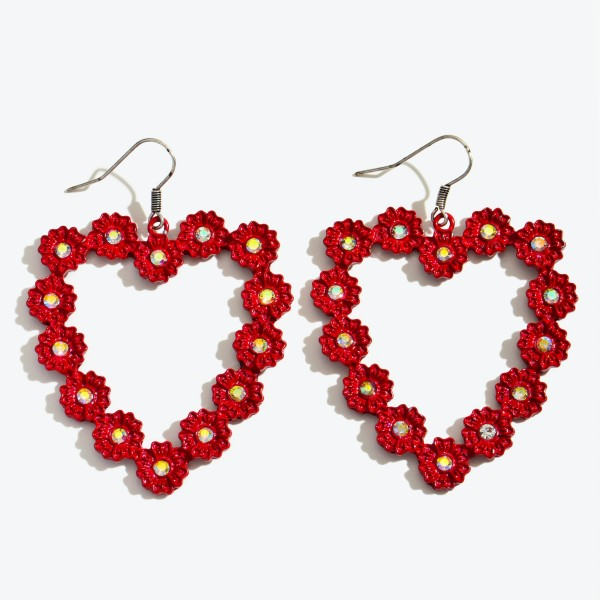 "Red Metal Flower Heart Statement Drop Earrings Featuring Rhinestone Accents.  - Approximately 2.25"" in Length"