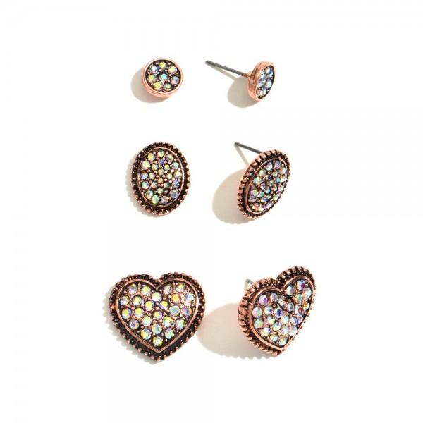 Wholesale pC Metal Rhinestone Heart Stud Earring Set Pair Per Set cm