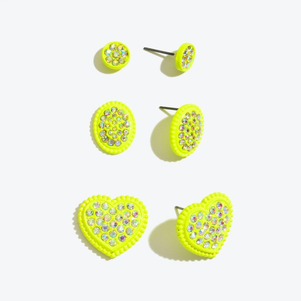Wholesale pC Metal Rhinestone Heart Stud Earring Set Pair Per Set cm
