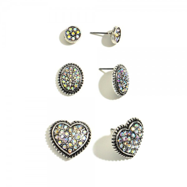 "3 PC Metal Rhinestone Heart Stud Earring Set.  - 3 Pair Per Set - Approximately 1cm - .75"" in Size"