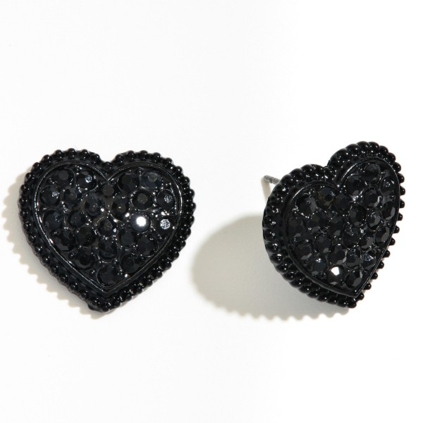 "Metal Rhinestone Heart Stud Earrings.  - Approximately .75"" in Size"