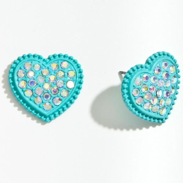 """Metal Rhinestone Heart Stud Earrings.  - Approximately .75"""" in Size"""