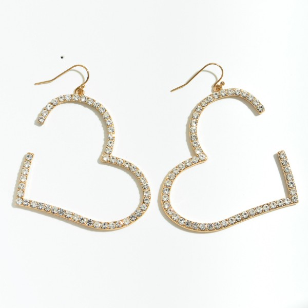 "Metal Rhinestone Heart Cut Statement Drop Earrings.  - Approximately 2.5"" L x 2"" W"