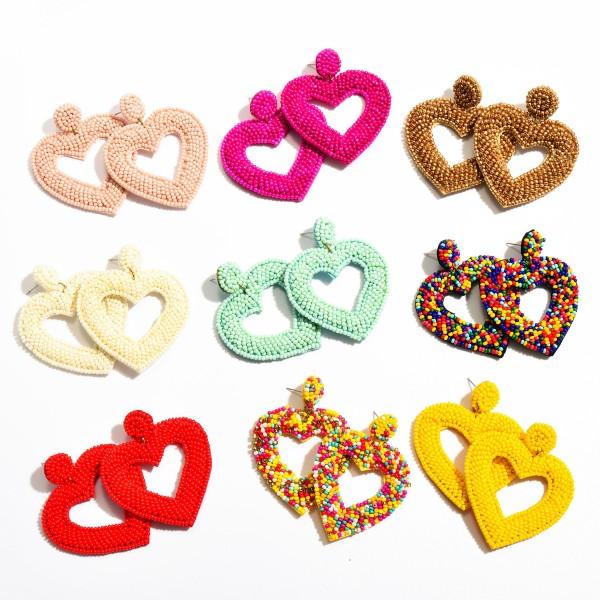 """Seed Beaded Heart Cut Felt Statement Drop Earrings.  - Approximately 2.25"""" L x 2"""" W"""