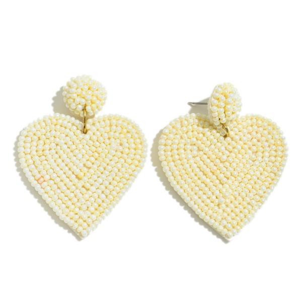 """Seed Beaded Heart Felt Drop Earrings.  - Approximately 2"""" L x 15"""" W"""