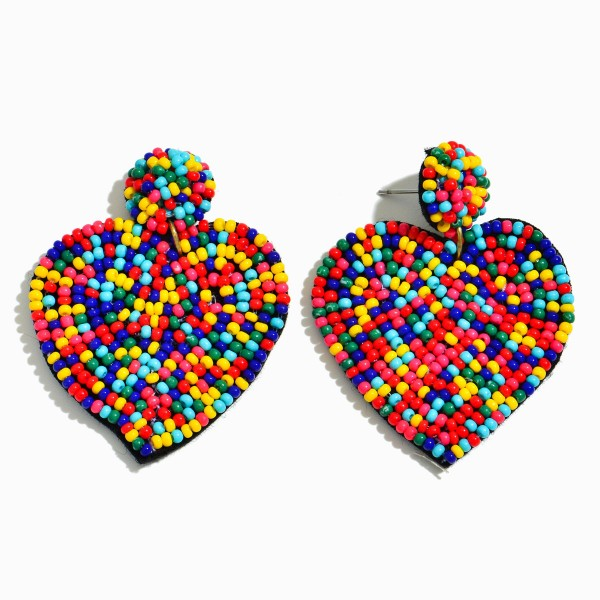 "Seed Beaded Heart Felt Drop Earrings.  - Approximately 2"" L x 15"" W"