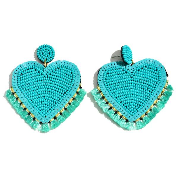 """Seed Beaded Sequin Heart Felt Tassel Statement Drop Earrings.  - Approximately 2.5"""" L x 2"""" W"""