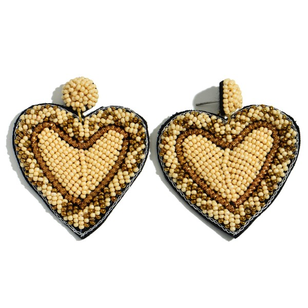 Wholesale seed Beaded Heart Felt Statement Drop Earrings L W