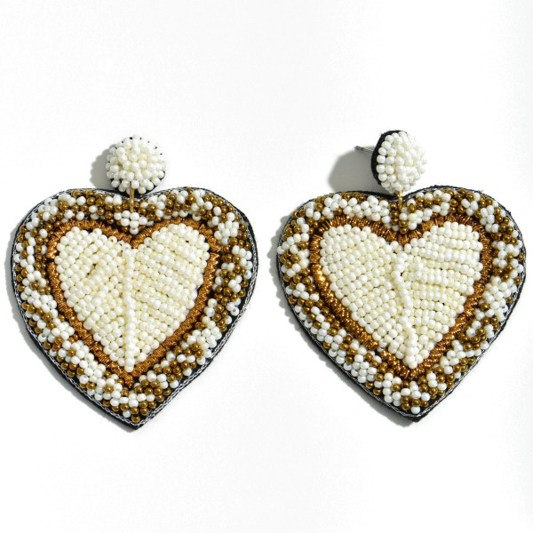 "Filled Seed Beaded Heart Felt Statement Drop Earrings.  - Approximately 2.25"" L x 2"" W"