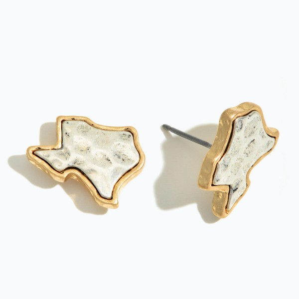 "Two Tone Texas State Hammered Stud Earrings.  - Approximately .5"" in Size"