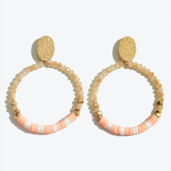 "Faceted Rubber Heishi Beaded Drop Earrings Featuring Gold Accent.  - Approximately 2"" L x 1.5"" in Diameter"