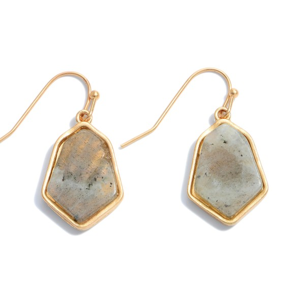 "Short Semi Precious Drop Earrings.  - Approximately 1"" in Length"