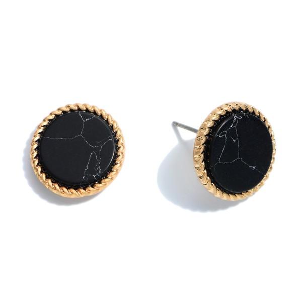 "Semi Precious Button Stud Earrings.  - Approximately .5"" in Diameter"