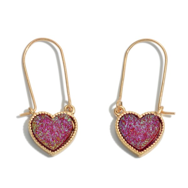 "Druzy Heart Drop Hoop Earrings.  - Approximately 1.5"" in Length"