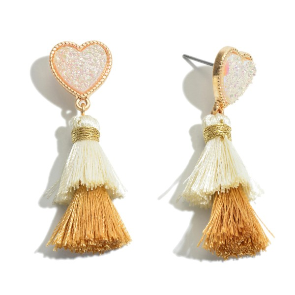 "Druzy Heart Tassel Drop Earrings.  - Approximately 2"" L"