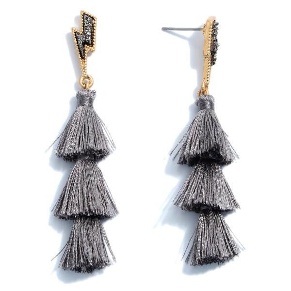 """Druzy Lightning Bolt Tassel Earrings.  - Approximately 2.5"""" in Length"""
