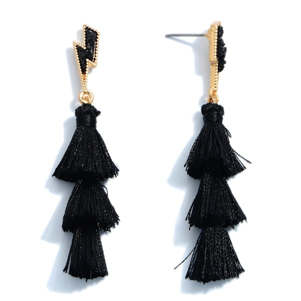 "Druzy Lightning Bolt Tassel Earrings.  - Approximately 2.5"" in Length"