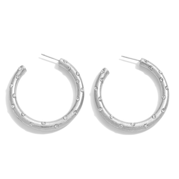 Wholesale rhinestone Hoop Earrings Worn Finish Diameter
