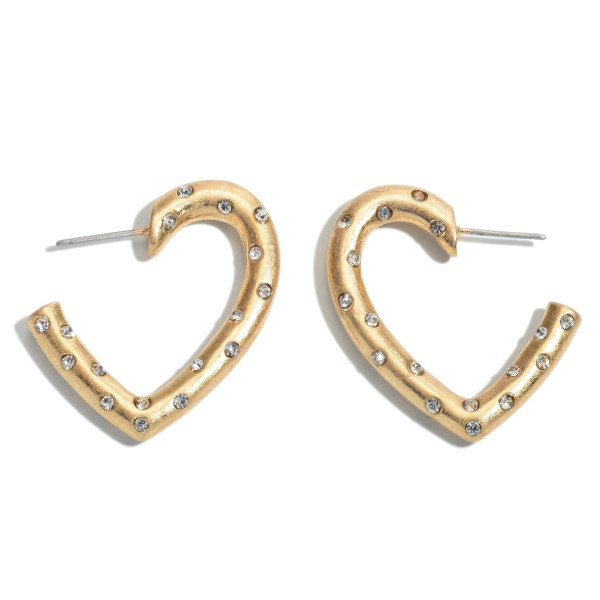 Short Rhinestone Heart Hoop Earrings in a Matte Finish.  - Approximately 1""