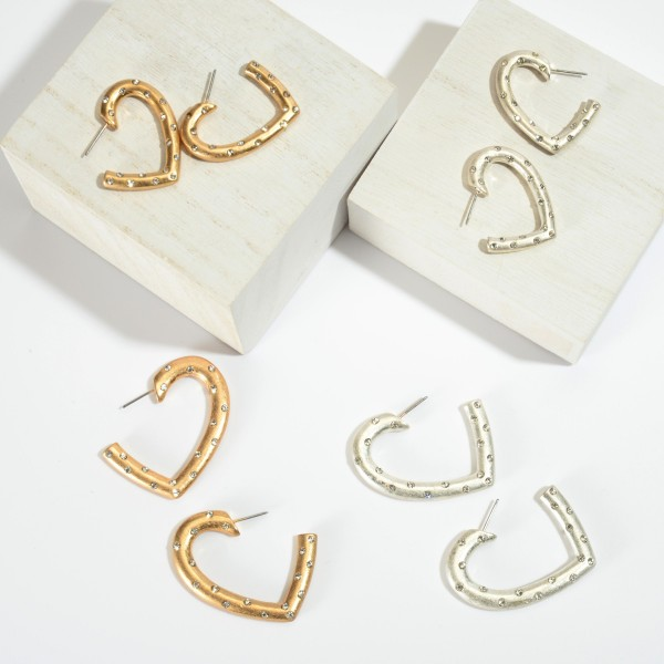 Short Rhinestone Heart Hoop Earrings in a Matte Finish.  - Approximately 1.5""