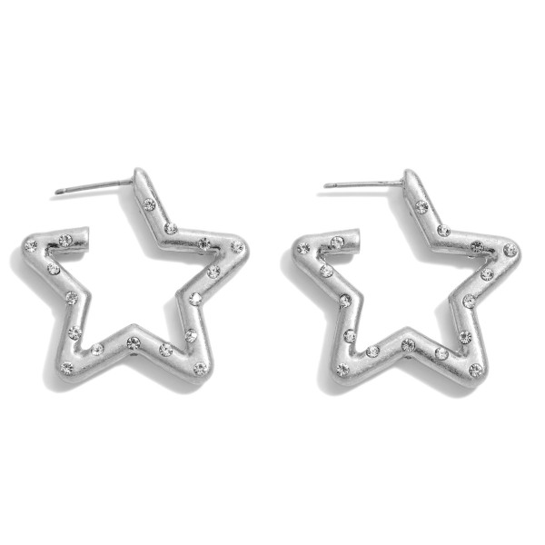 "Rhinestone Star Hoop Earrings in a Worn Finish.  - Approximately 1"" in Size"