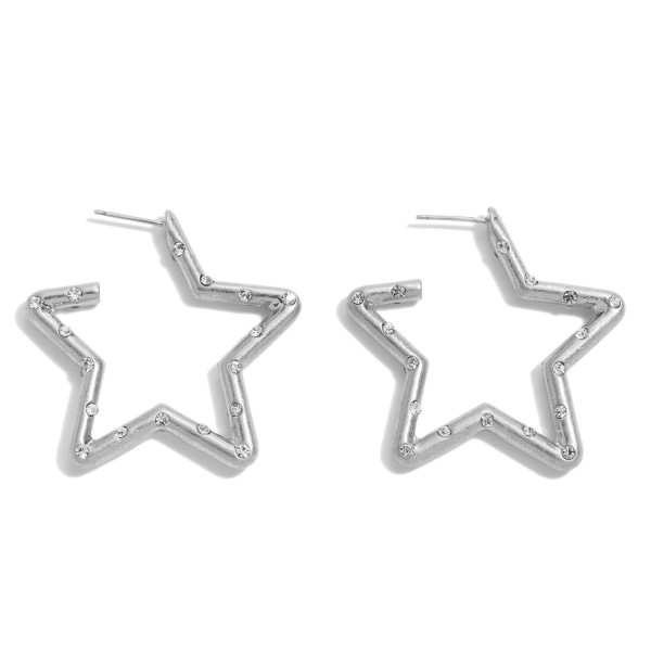 "Rhinestone Star Hoop Earrings in a Worn Finish.  - Approximately 1.5"" in Size"