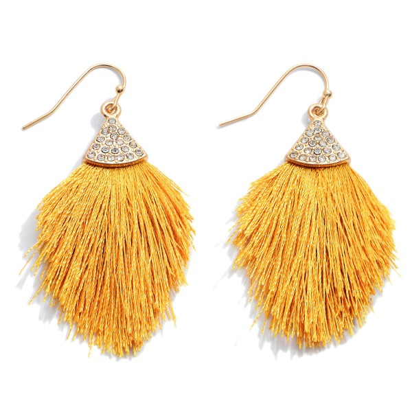 "Mini Rhinestone Fringe Tassel Earrings.  - Approximately 2"" in Length"