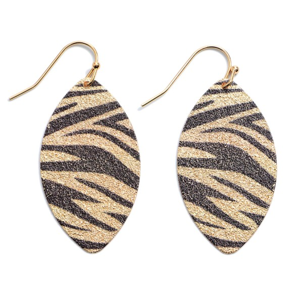 "Shimmery Metal Animal Print Pointed Drop Earrings.  - Approximately 1.5"" in Length"