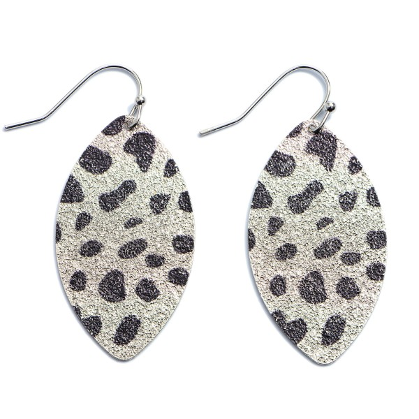 Wholesale shimmery Metal Animal Print Pointed Drop Earrings