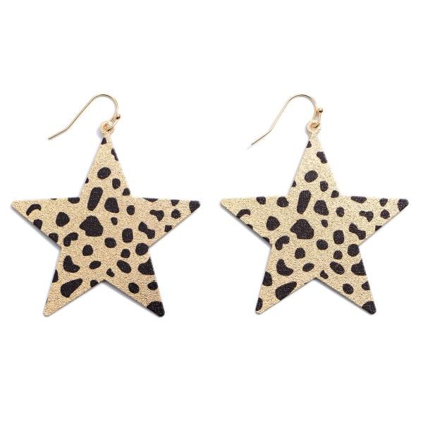 "Shimmery Metal Animal Print Star Drop Earrings.  - Approximately 2"""