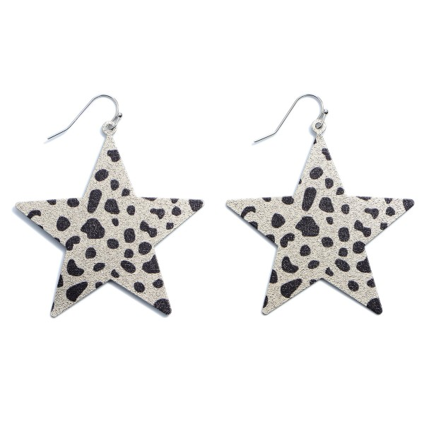 Shimmery Metal Animal Print Star Drop Earrings.  - Approximately 2""