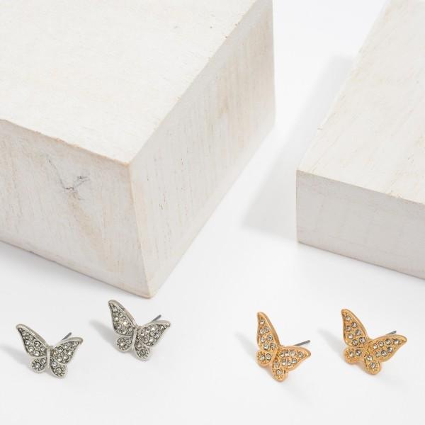 """Rhinestone Butterfly Stud Earrings.  - Approximately .75"""" in Size"""