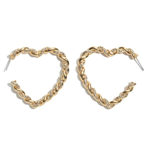 Rhinestone Rope Twisted Heart Hoop Earrings.  - Approximately 2""