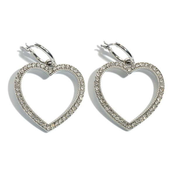 "Rhinestone Heart Huggie Hoop Earrings.  - Approximately 1.5"" L"