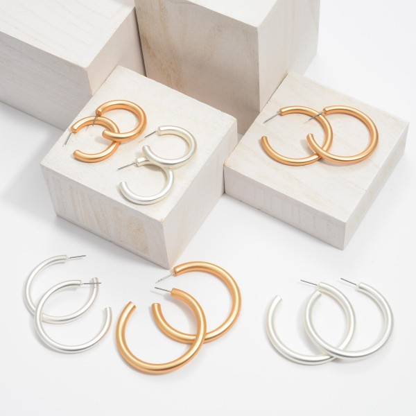 "Hoop Earrings in a Matte Finish.  - Approximately 1"" in Diameter - Hoop Thickness: 3mm"