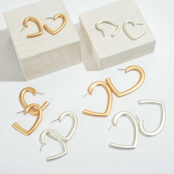 Short Heart Hoop Earrings in a Matte Finish.  - Approximately 1""