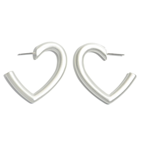 Heart Hoop Earrings in a Matte Finish.  - Approximately 1.5""