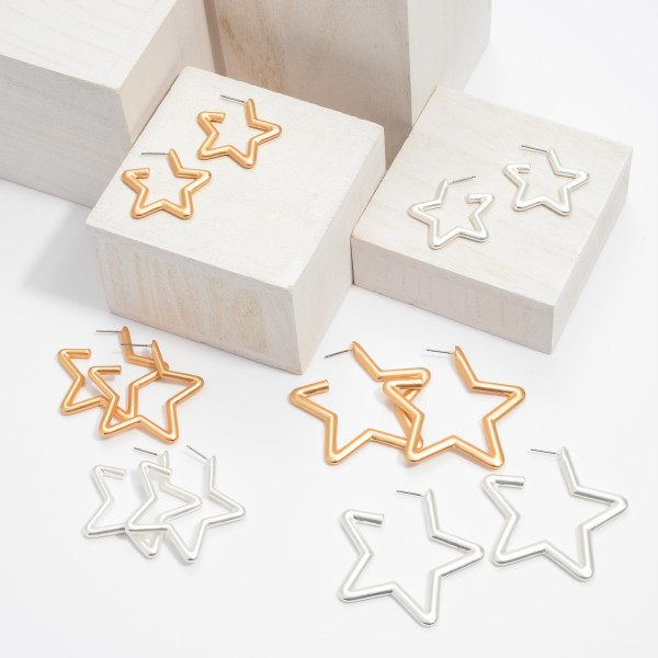 "Short Star Hoop Earrings in a Matte Finish.  - Approximately 1"" in Size - Hoop Thickness: 3mm"