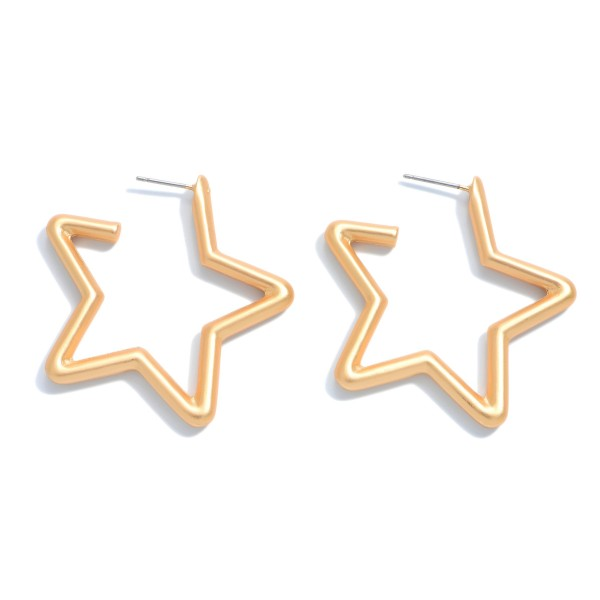 "Star Hoop Earrings in a Matte Finish.  - Approximately 1.5"" in Diameter - Hoop Thickness: 3mm"