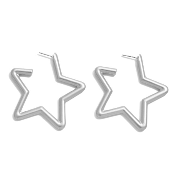 "Star Hoop Earrings in a Matte Finish.  - Approximately 2""  - Hoop Thickness: 3mm"