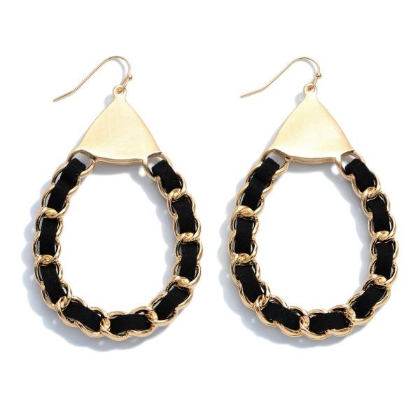 "Faux Leather Woven Chain Link Statement Teardrop Earrings.  - Approximately 3"" in Length"