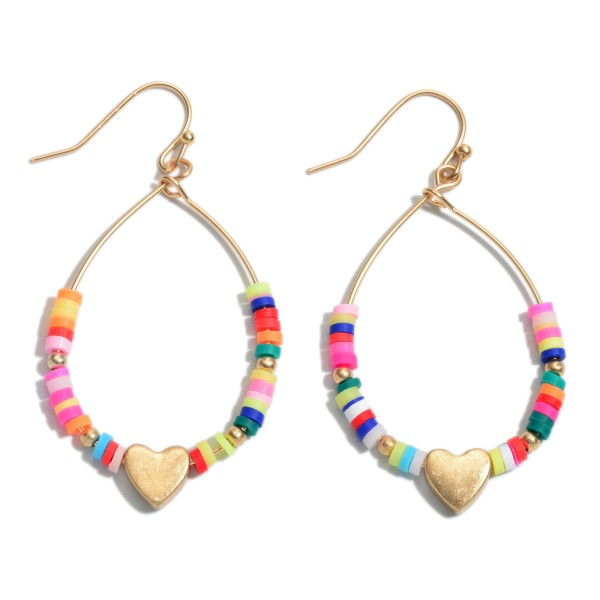 "Rubber Heishi Beaded Heart Teardrop Earrings.  - Approximately 1.75"" L"