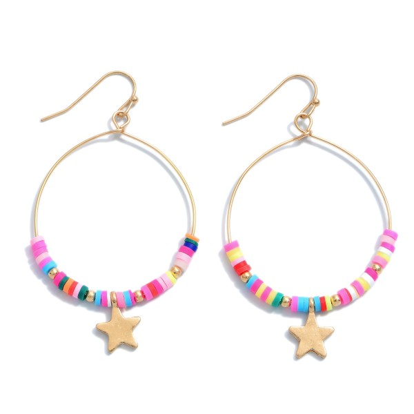 "Rubber Beaded Star Drop Earrings.  - Approximately 2"" in Length"